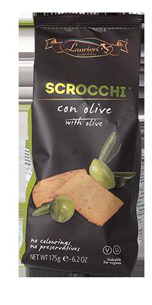 Scrocchi Kräcker mit Oliven